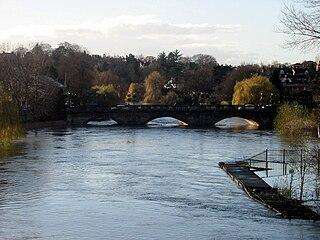 Welsh Bridge Bridge over River Severn in Shrewsbury, UK