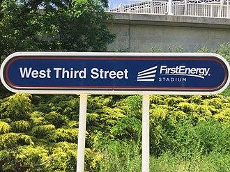 West 3rd station - Image: West 3rd station sign