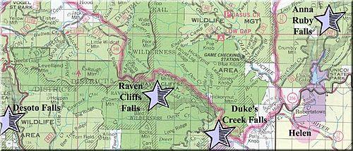 DeSoto Falls (Georgia) - Wikipedia on clermont florida map, blue ridge parkway north carolina map, lake helen florida map, peachtree city ga map, helen water park, helen wedding chapel, habersham county map, atlanta map, helen ga, ellijay map, helena ga map,