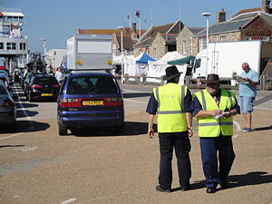 Wightlink staff directing traffic at Yarmouth Old Gaffers Festival 2011.JPG