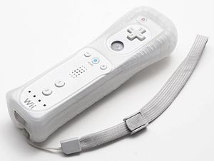 A Wiimote, with a strap and a condom on.