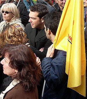 Greek politician Alexis Tsipras (center) among...