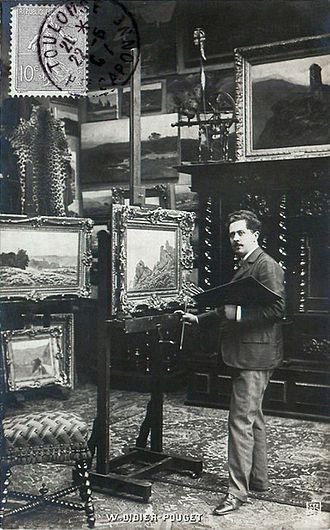 William Didier-Pouget - William Didier-Pouget circa 1907 in his studio, 12 Boulevard de Clichy, Paris (Postcard)