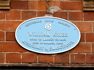 William Knibb - Blue plaque at Knibb's birthplace in Market Street, Kettering