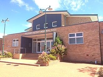 Williams, Western Australia - Williams District Memorial Hall in 2018