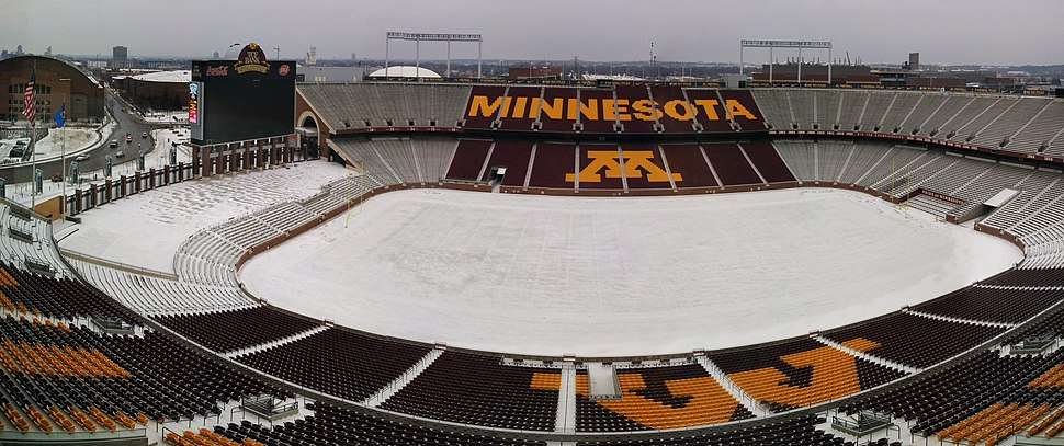 Winter at TCF Bank Stadium - panorama