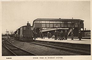 Wisbech East railway station - Image: Wisbech East railway station (postcard)