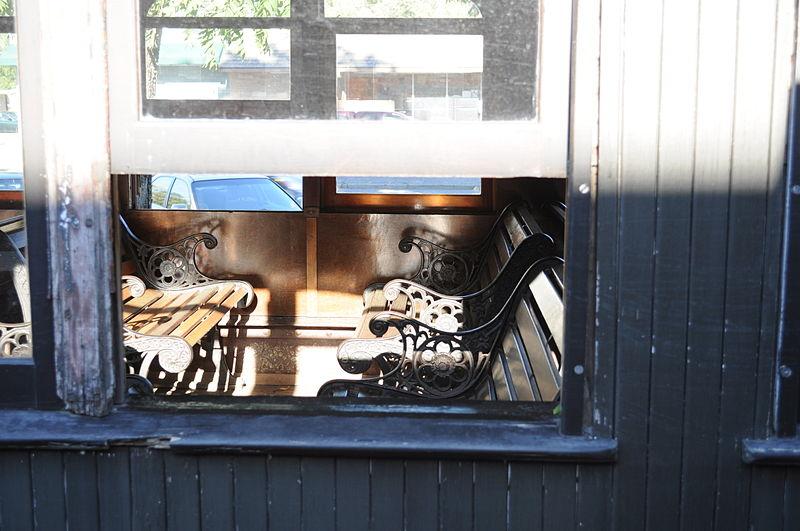 File:Wooden rail car seats.jpg