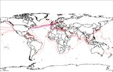 Mapa świata z czerwonymi i niebieskimi liniami