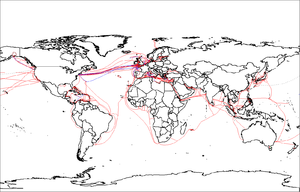 Global network - Global submarine cables in 2007