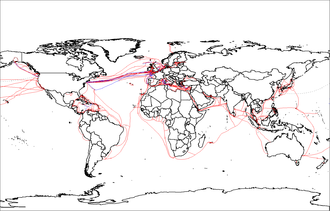 2007 map of submarine cables World map of submarine cables.png