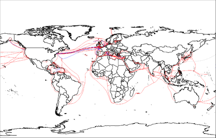 2007 map showing submarine fiberoptic telecommunication cables around the world. World map of submarine cables.png