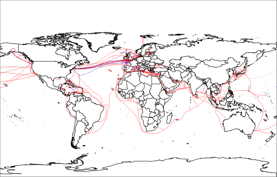 World map of submarine cables