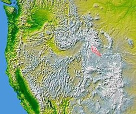 The Wind River Range highlighted in pink