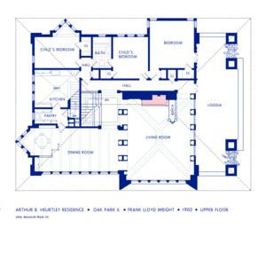 Arthur Heurtley House - Upper floor plan.