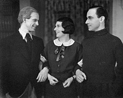 Yngve Nordwall, Nina Scenna och Ivar Wahlgren i Hycklare på Helsingborgs stadsteater 1934.