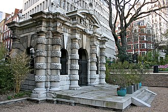 York House, Strand - The Italianate York Water Gate, built about 1626, displaying the arms of Villiers and decorative escallops featured within them