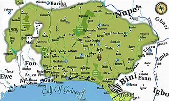 Yoruba people - Map of the Yoruba cultural area, showing some settlements