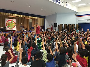 School assembly - Students in Houston, Texas volunteering for the Yuck Game Show science assembly program.