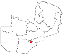 Location of Mazabuka in Zambia