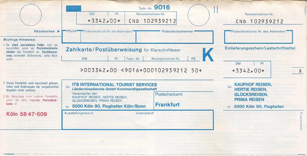 geld per postanweisung kosten