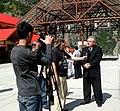 Zarab Soselia, Republic of Georgia deputy minister of finance, conducts an interview for Georgian media after a September 4 ribbon-cutting ceremony for a border crossing station in Kazbegi, Georgia. (Kazbegi, September 4, 2009).jpg