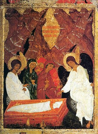 Matins Gospel - Icon used on the Sunday of the Myrrhbearers, illustrating one of the Resurrection appearances of Jesus. The two Marys are in the center with the two angels at either side, in the foreground is the Holy Sepulchre with the winding sheet and napkin.