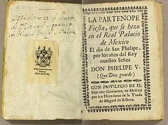 Partenope (Zumaya) - Titlepage of libretto of Zumaya's opera 'Partenope', 1714