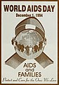 """WORLD AIDS DAY"" ""December 1, 1994"" ""AIDS and FAMILIES"" ""Protect and Care for the Ones We Love"" art, from- Images from the history of the Public Health Service - a photographic exhibit (IA imagesfromhistor00unit) (page 59 crop).jpg"