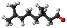 Ball-and-stick model of the (+)-citronellal molecule