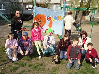 Nashi (youth movement) - Children participating in Mishki (Bears), a Nashi project.
