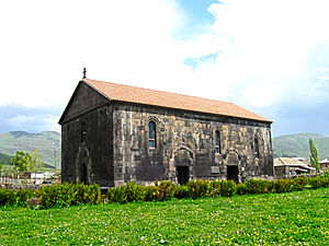 Church architecture - 4th-century Basilica of the Holy Cross in Aparan, Armenia
