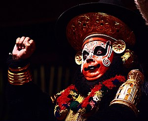 Theatre of India - Performer playing Sugriva in the Koodiyattam form of Sanskrit theatre.