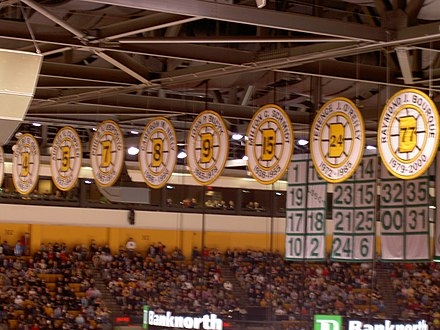 Player numbers retired by the Bruins hoisted at the TD Garden rafters. Orr's number was retired with the club in 1979. 061118retired (301097755).jpg