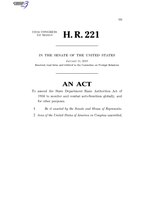 116th United States Congress H. R. 0000221 (1st session) - Special Envoy to Monitor and Combat Anti-Semitism Act C - Referred in Senate.pdf