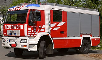 German fire services - A MAN LF 16/12 (Engine) of the Volunteer Fire Station in Brehna, Germany
