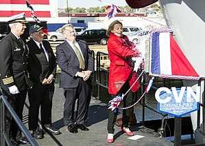 Susan Ford - Susan Ford christens Gerald R. Ford (CVN 78) in Newport News, Virginia on November 9, 2013