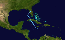 A track map of Tropical Depression Fourteen throughout the Caribbean Sea and Gulf of Mexico. The track starts out south of Jamaica and heads generally northwest, crossing Cuba and making landfall in Florida.