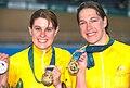 141100 - Cycling track Tania Modra Sarnya Parker gold medals - 3b - 2000 Sydney medal photo.jpg