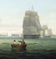 1863 BrigAntelopeInBostonHarbor byFitzHenryLane MFABoston - Antelope (ship, 1843) with Captain Dumaresq in the longboat (cropped).png