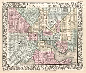 Timeline of Baltimore - Map of Baltimore, 1867