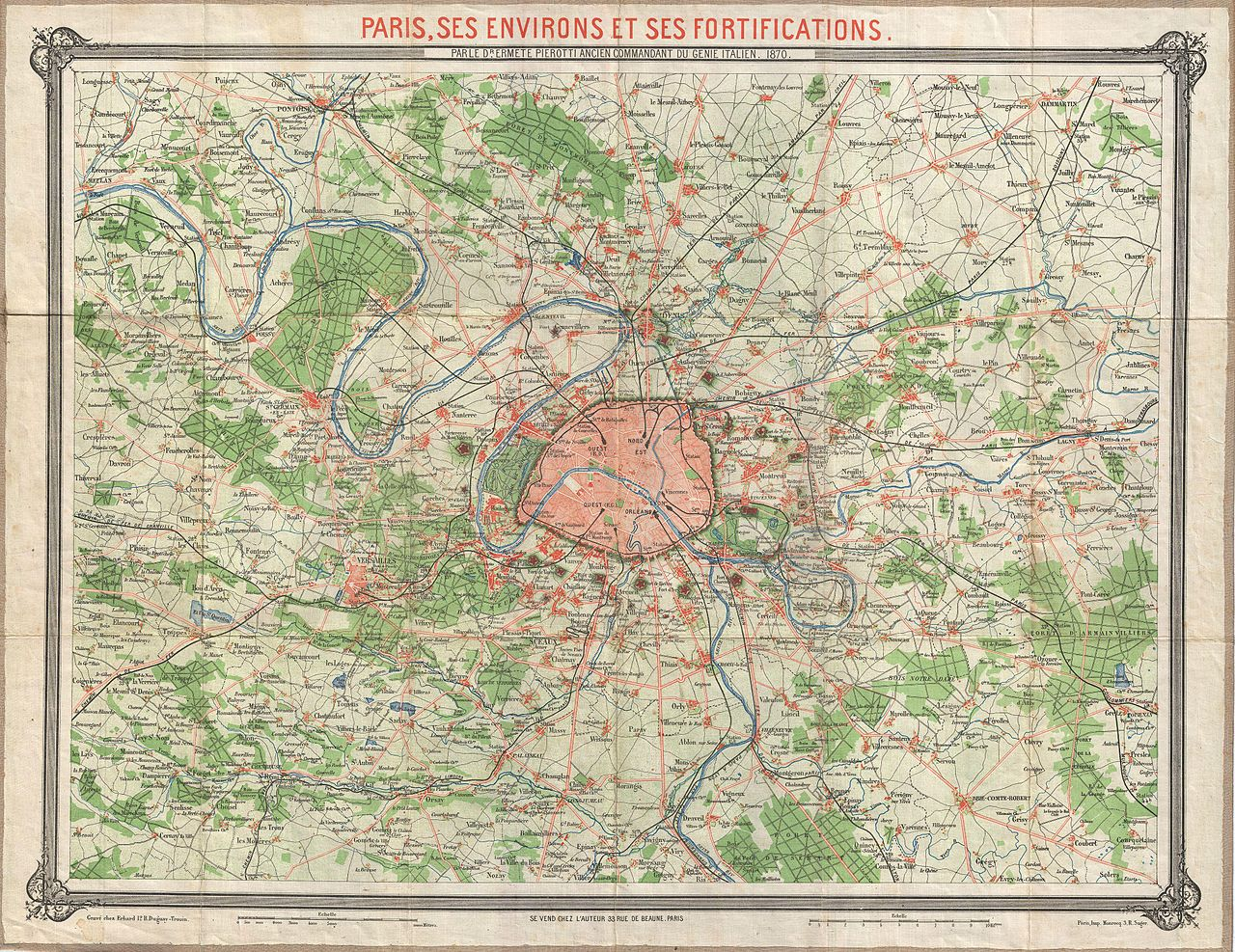 Map France 987.File 1870 Erhard Map Of Paris And Vicinity France Geographicus