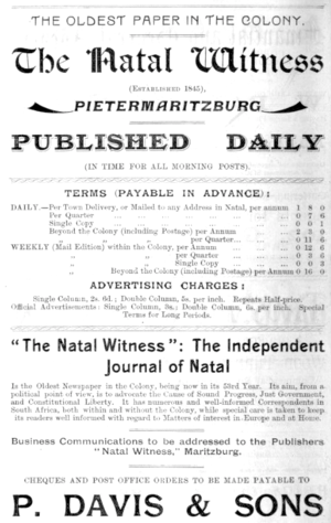 The Witness (South African newspaper) - Advertisement for Natal Witness, 1897