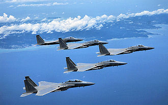 18th Operations Group - 67th FS McDonnell Douglas F-15 Eagles (84-043, 83–017, 83–020, 83–025, 85–095) in formation.