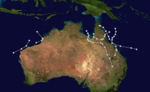 1910–21 Australian region cyclone seasons - Track map of the whole season