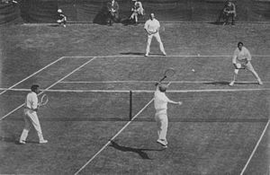 1912 International Lawn Tennis Challenge - 1912 International Lawn Tennis Challenge (Davis Cup) finals match between Australasia and the British Isles played at the Albert Ground in Melbourne, Australia on 28–30 November. Players shown on the near side are Alfred Dunlop (left) and Norman Brookes (right) for Australasia and on the far side James Parke (left) and Alfred Beamish (right) for the British Isles.