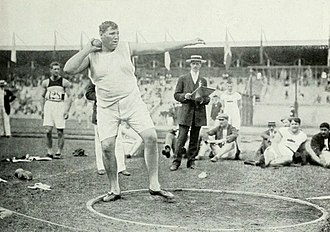 Athletics at the 1912 Summer Olympics – Men's two handed shot put - Rose on the way to win the gold medal.