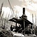 1938. Logging donkey. Consolidated Timber Company tract. Tillamook Burn, Oregon. (34856435222).jpg