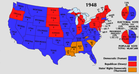 1948 electoral votes by state. The Dixiecrats carried Louisiana, Mississippi, Alabama, and South Carolina, and received one additional electoral vote in Tennessee.