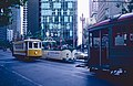 1983 SF Historic Trolley Festival - Porto 122, Blackpool 226 and Muni 1 at Market & 1st.jpg